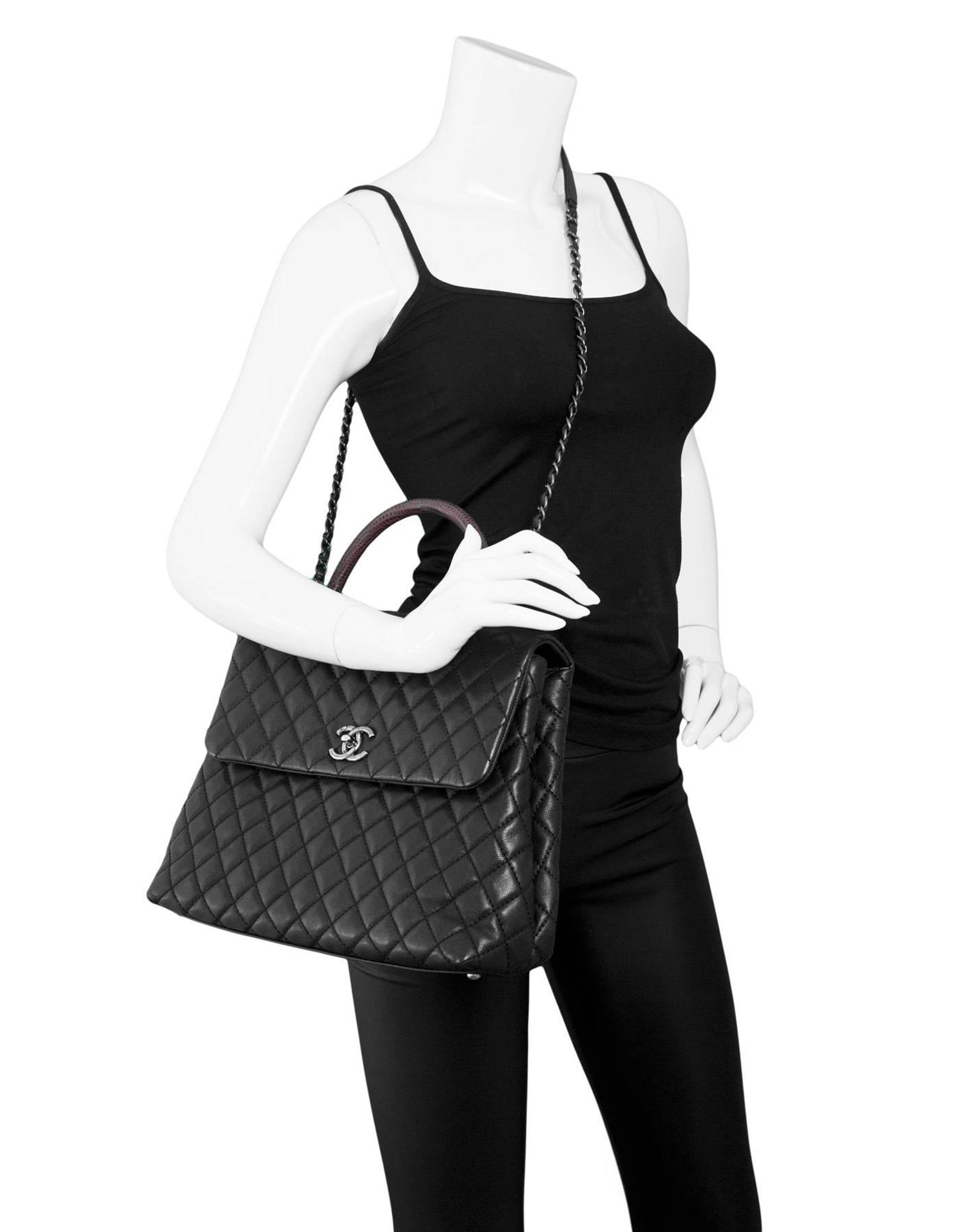 6dae72fcbbcf Chanel Black Caviar Leather Quilted Large Coco Lizard Handle Bag with DB  For Sale at 1stdibs