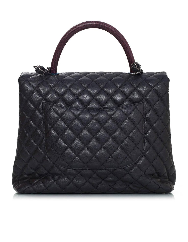 Chanel Black Caviar Leather Quilted Large Coco Lizard Handle Bag ... : chanel quilted black handbag - Adamdwight.com