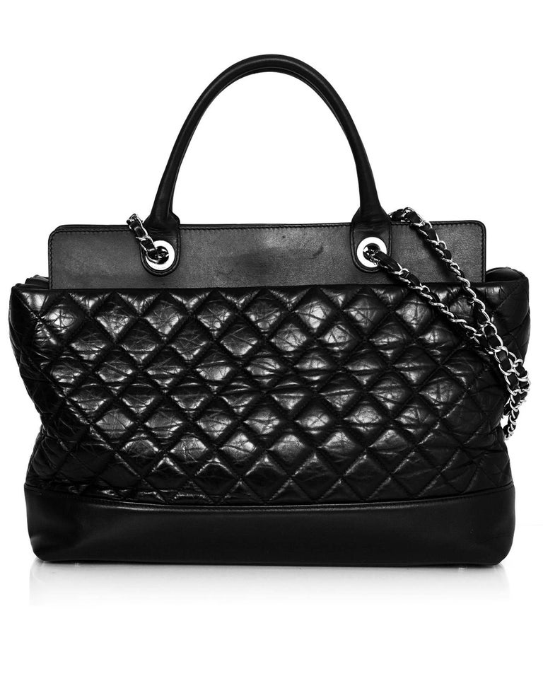 Chanel Black Aged Calfskin Leather Quilted Be CC Double Handle ... : leather quilted bag - Adamdwight.com