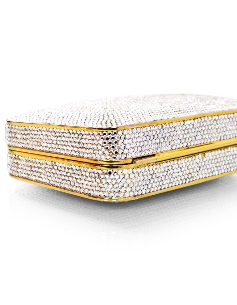 Judith Leiber Crystal Minaudiere Evening Clutch Bag In Excellent Condition For Sale In New York, NY