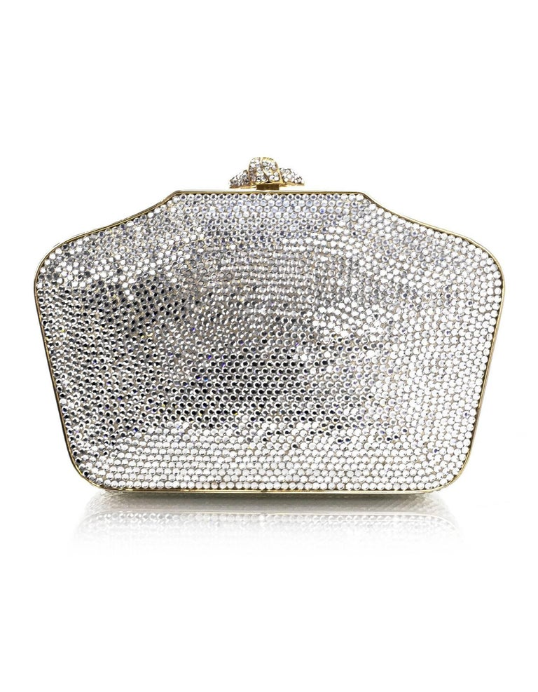 Gray Judith Leiber Crystal Minaudiere Evening Clutch Bag For Sale