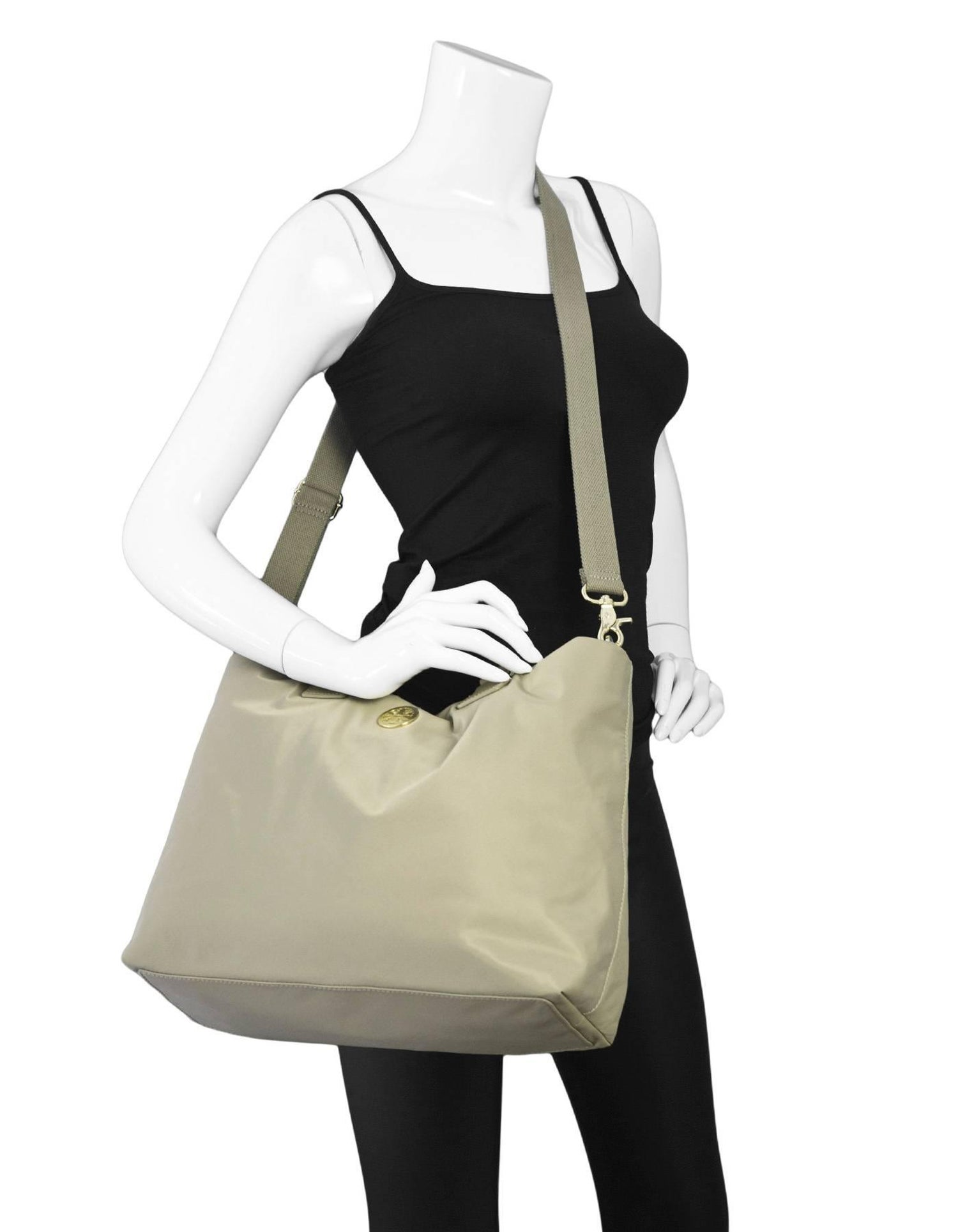 Tory Burch Beige Nylon Dene Tote Bag W Strap For Sale At 1stdibs Large York French Gray