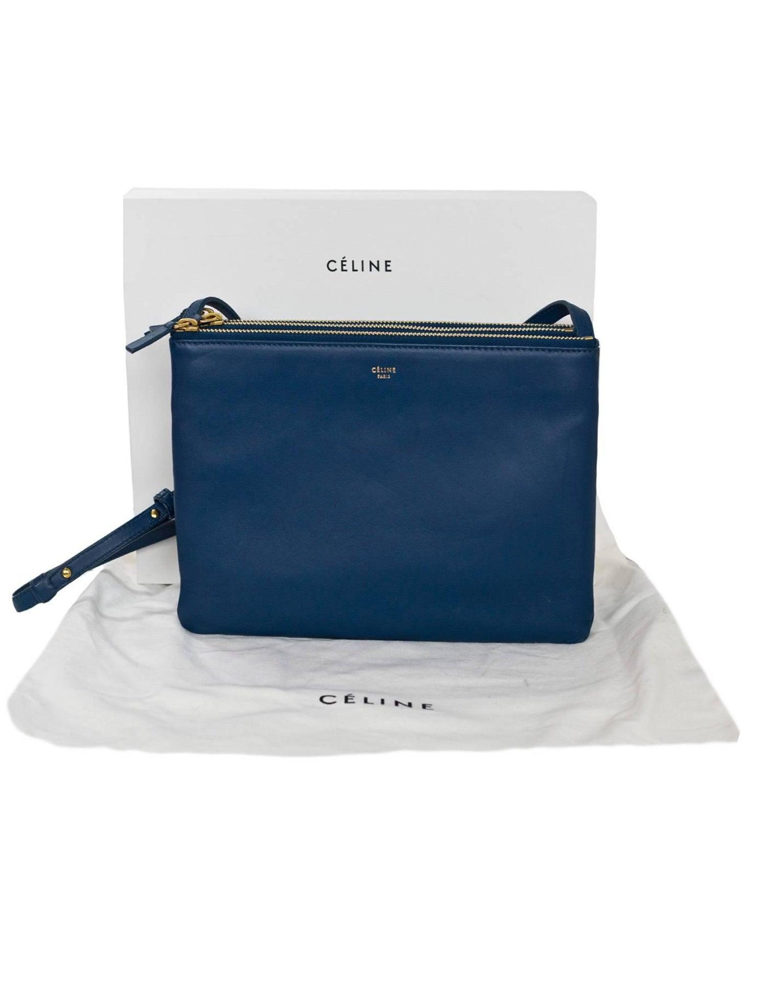 Celine Blue Lambskin Leather Large Trio Crossbody Clutch Bag For Sale at  1stdibs 05436101c3f2c
