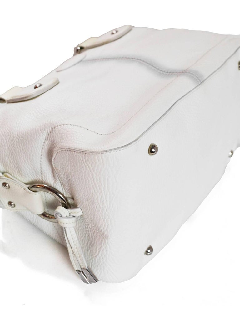 Tod's White Leather Bowler Bag In Good Condition For Sale In New York, NY