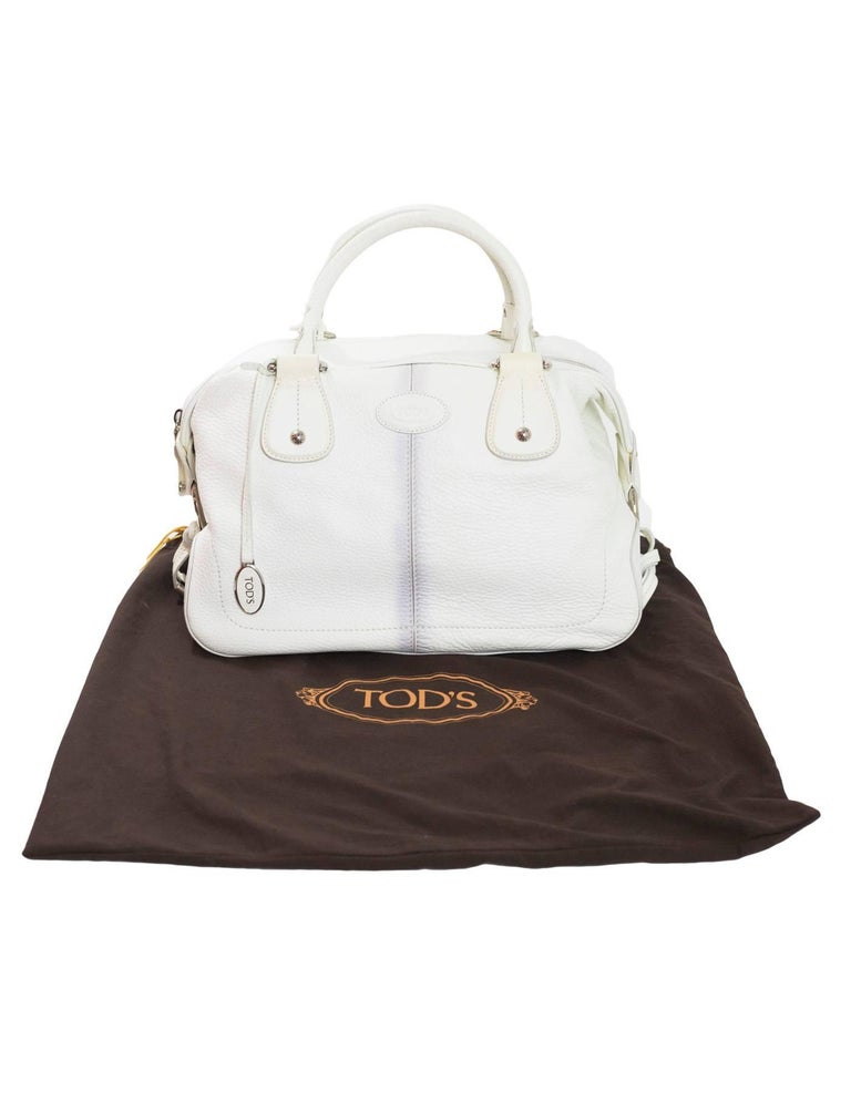 Tod's White Leather Bowler Bag For Sale 5