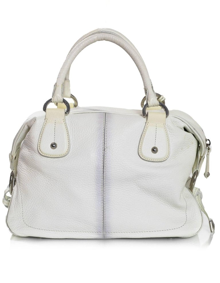 Gray Tod's White Leather Bowler Bag For Sale