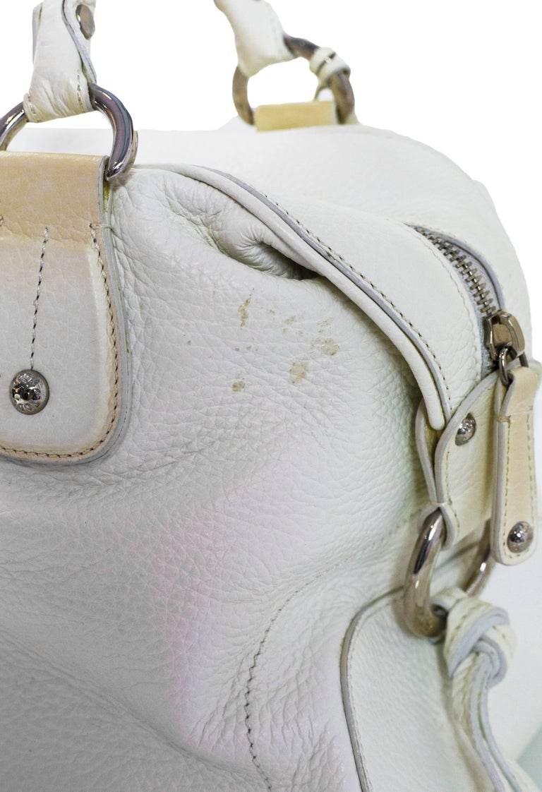 Tod's White Leather Bowler Bag For Sale 1