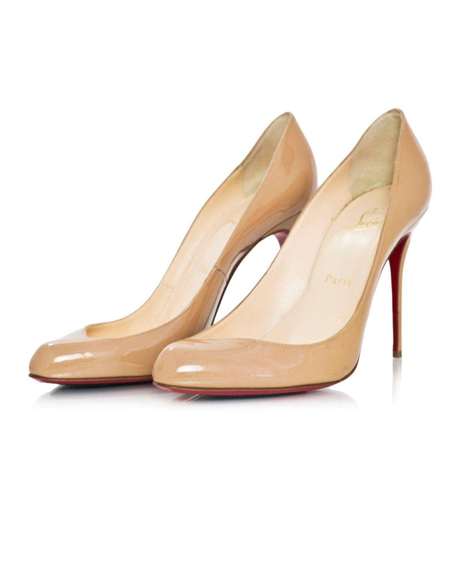 10c0e0ee7f1 Christian Louboutin Nude Patent Leather Maudissima 100 Pumps sz 39