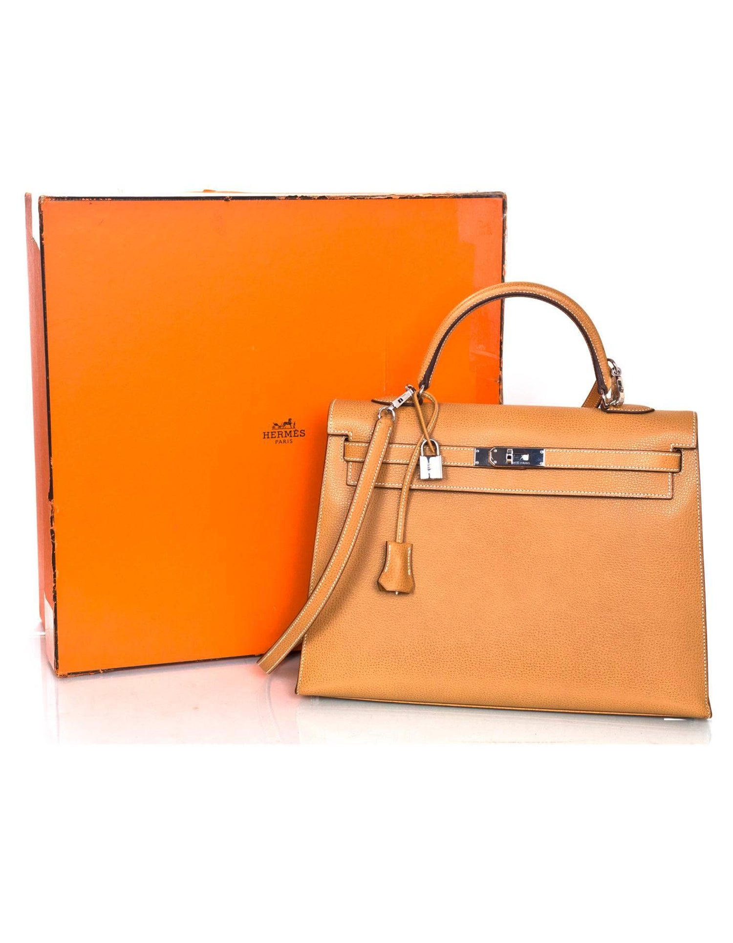 cd10f125245a Hermes Camel Textured Leather Sellier Rigid 35cm Kelly Bag w  Strap For  Sale at 1stdibs
