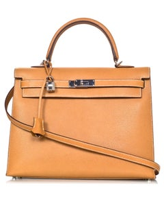 Hermes Camel Textured Leather Sellier Rigid 35cm Kelly Bag w/ Strap
