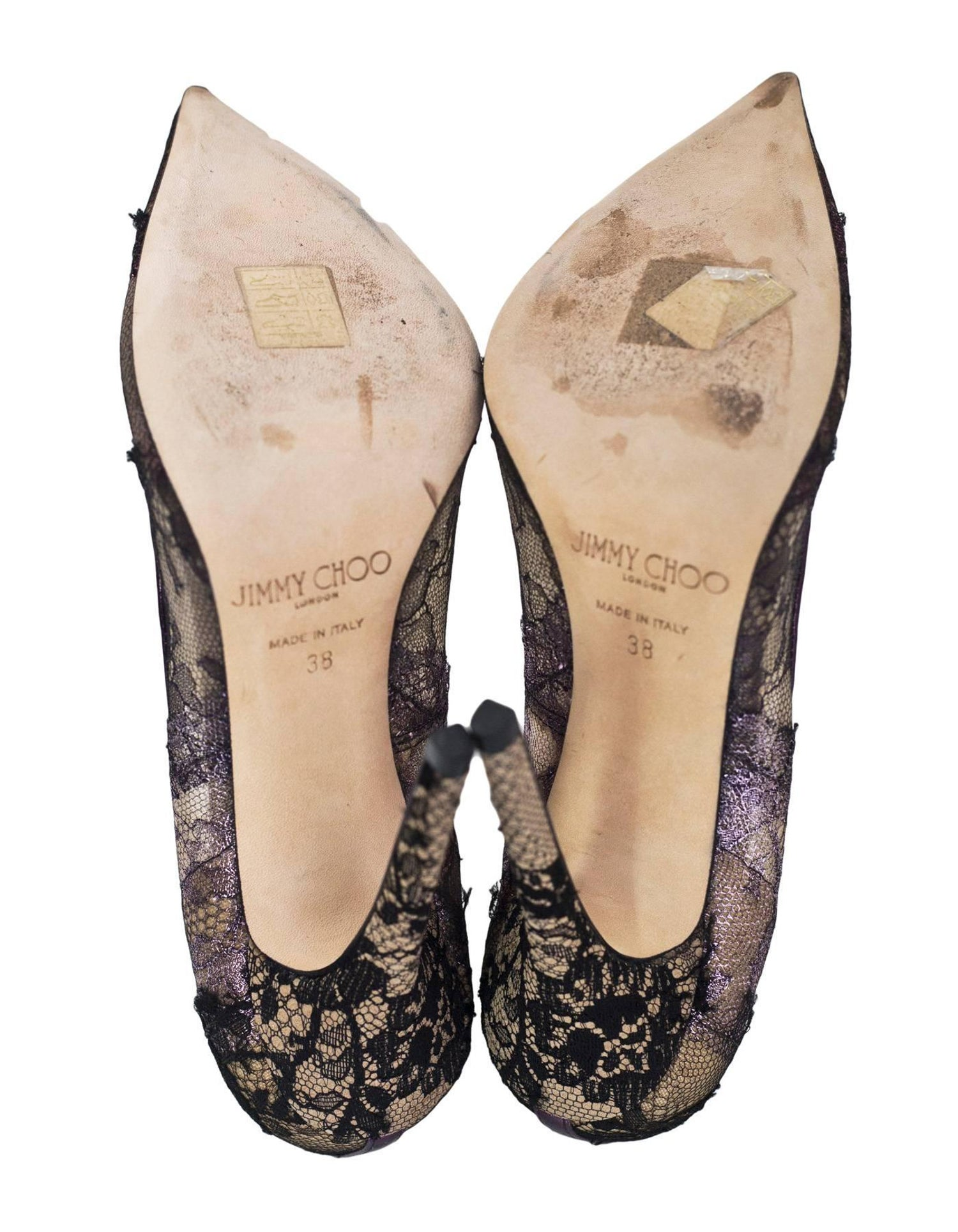 b6fa453b4178 Jimmy Choo Black and Purple Lace Pumps Sz 38 For Sale at 1stdibs