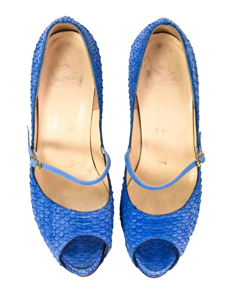 Christian Louboutin Blue Python Open-Toe Platform Pumps Sz 36 3