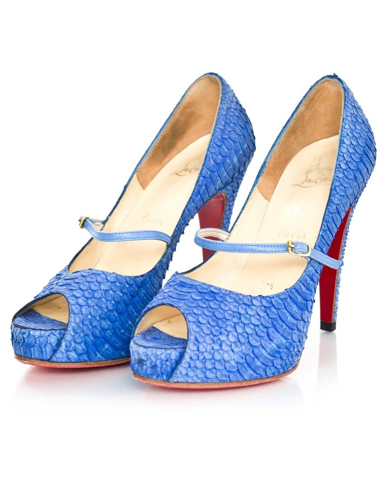 Christian Louboutin Blue Python Open-Toe Platform Pumps Sz 36 2