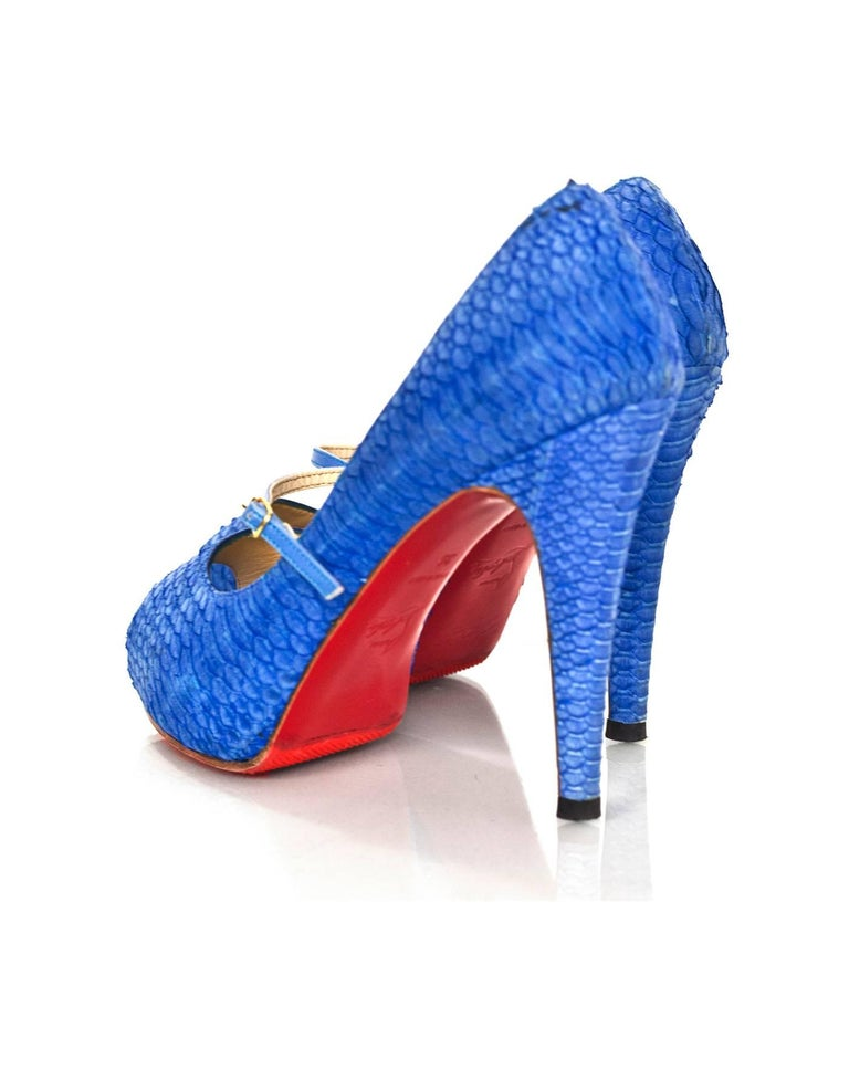 Christian Louboutin Blue Python Open-Toe Platform Pumps Sz 36 4