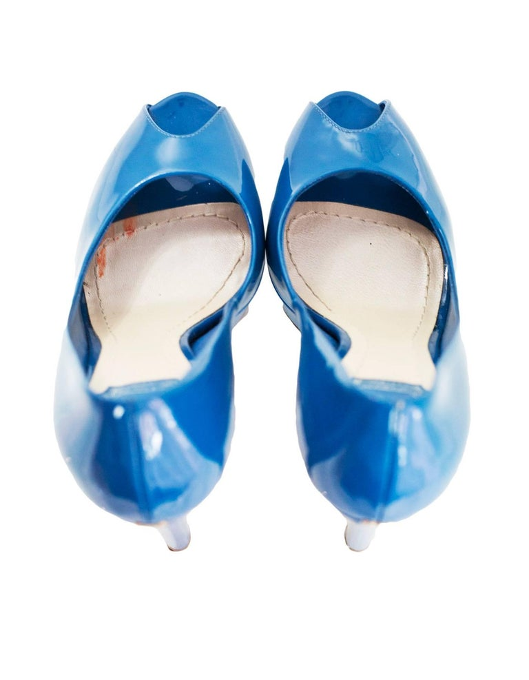 dccd9ccc Christian Dior Blue Patent Peep Toe Pumps Sz 36