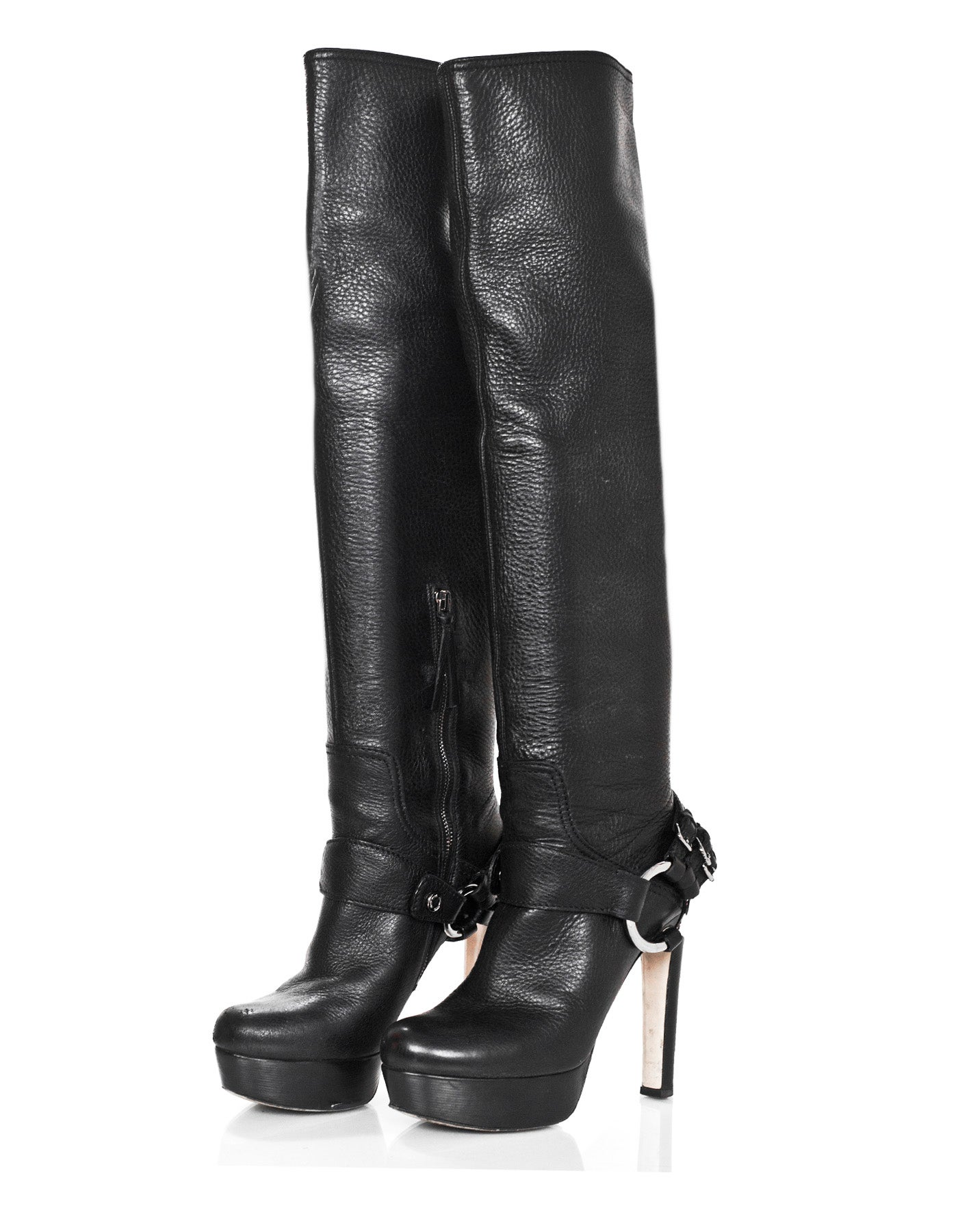 007a2b83ac7d Miu Miu Black Leather Over The Knee Boots Sz 38 with Box and DB For Sale at  1stdibs