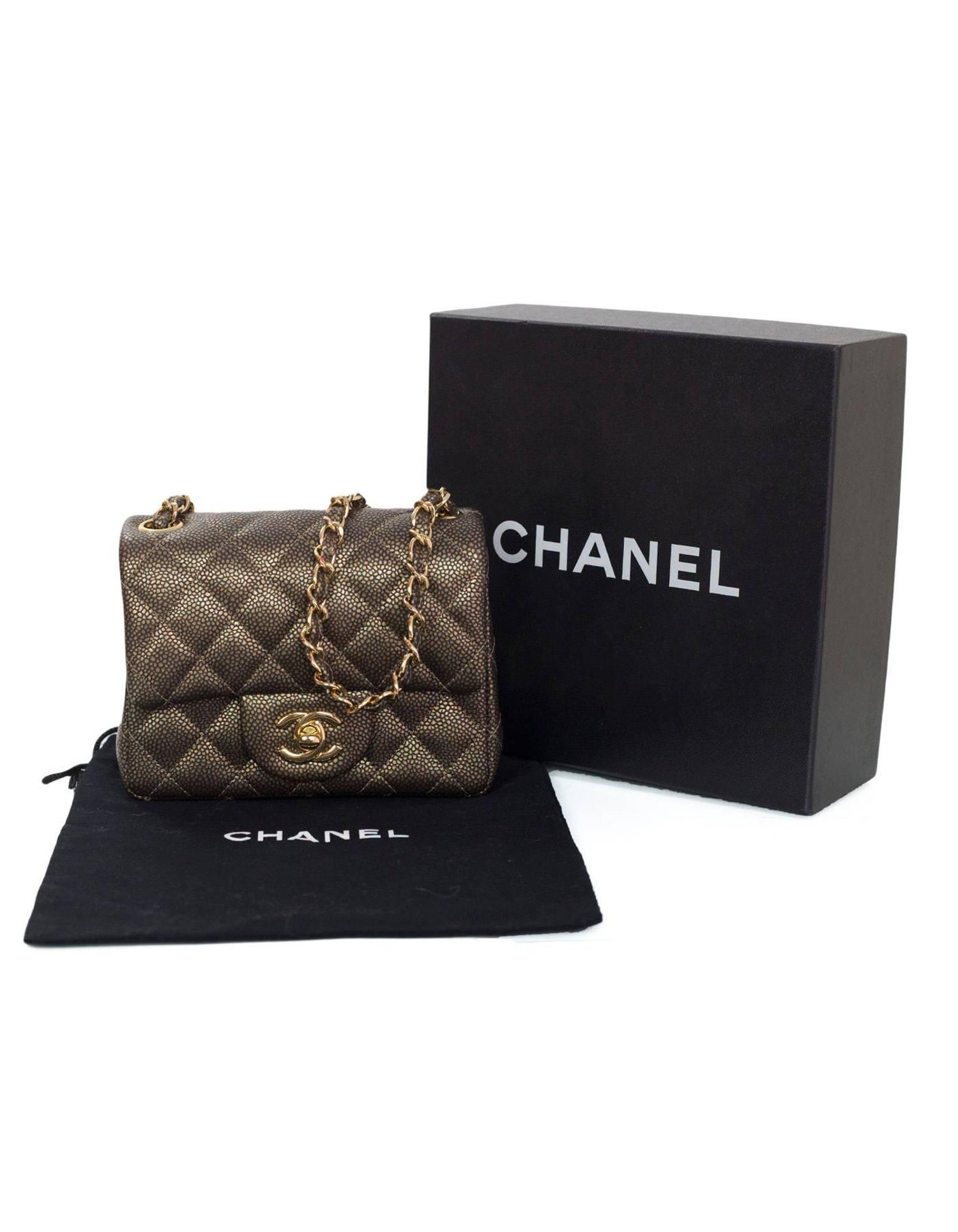 62d1460a37ad Chanel Dark Gold Caviar Square Mini Flap Bag with Box and DB For Sale at  1stdibs