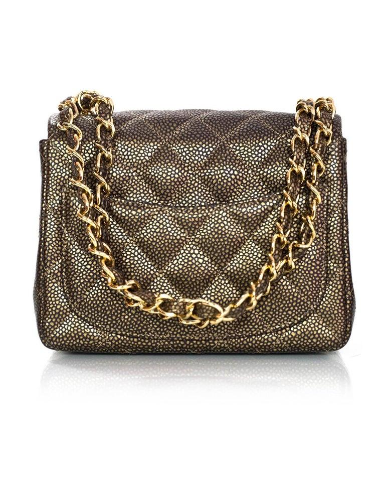 2cdcdd40591e Black Chanel Dark Gold Caviar Square Mini Flap Bag with Box and DB For Sale