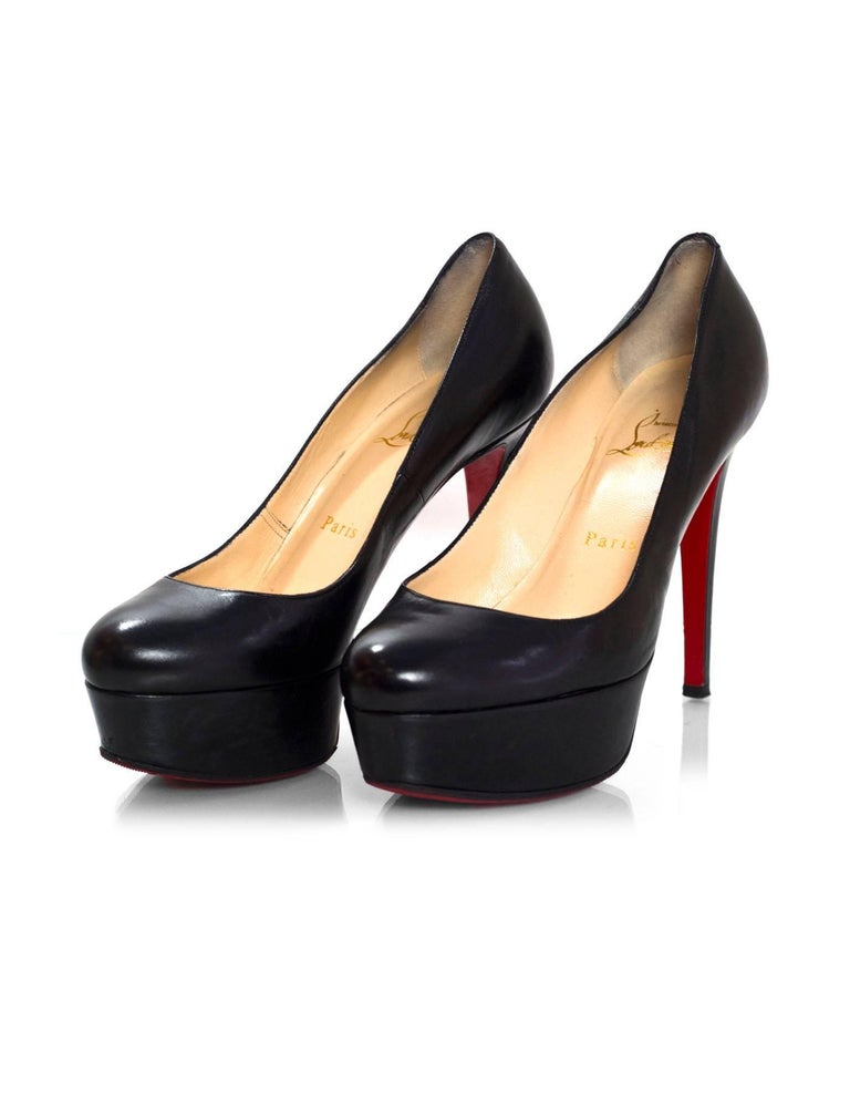 factory price 88441 f247a Christian Louboutin Black Leather Bianca 120 Pumps Sz 36 with DB