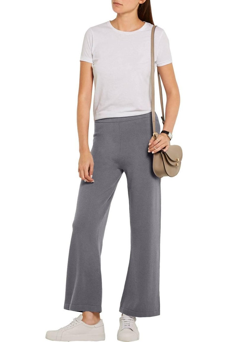 Allude Taupe Cashmere Wide Leg Pants Sz M  Made In: China Color: Taupe Composition: 100% cashmere Closure/Opening: Stretch waistband Retail Price: $479 + tax Overall Condition: Excellent pre-owned condition, light pilling  Marked Size: M Waist: