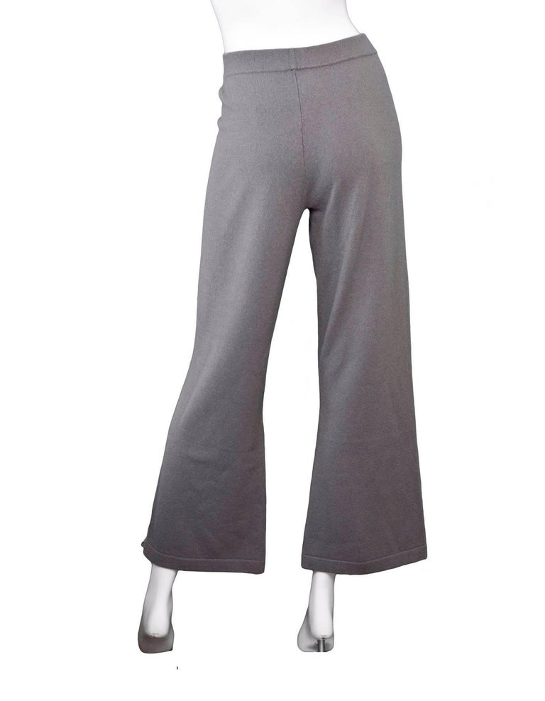 Allude Taupe Cashmere Wide Leg Pants Sz M rt. $479 In Excellent Condition For Sale In New York, NY