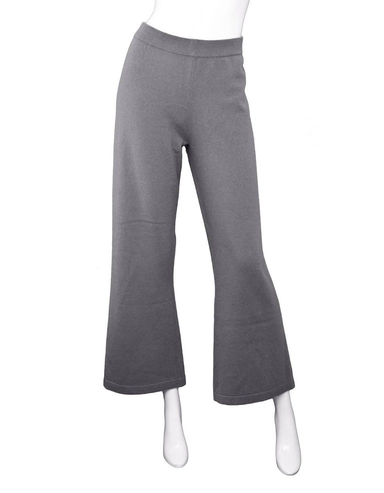 Gray Allude Taupe Cashmere Wide Leg Pants Sz M rt. $479 For Sale