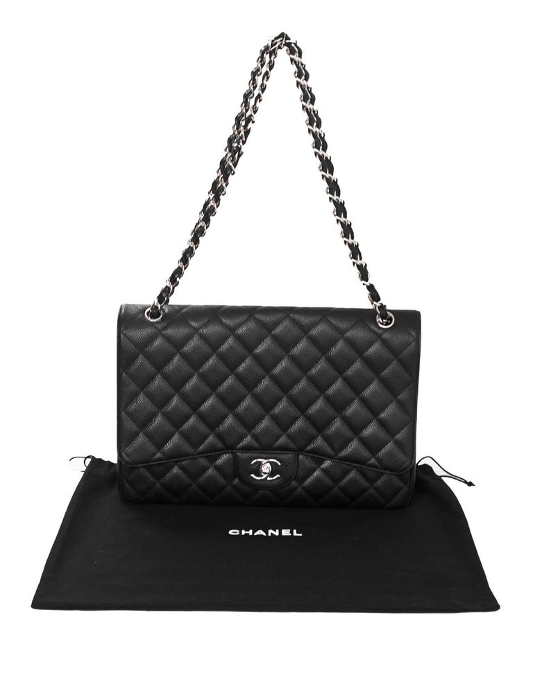 Chanel Black Caviar Leather Quilted Single Flap Maxi Classic Bag with DB For Sale 5
