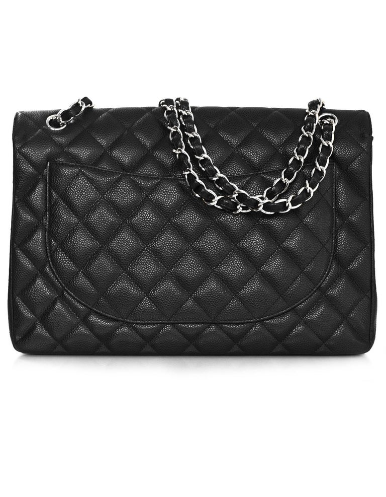Chanel Black Caviar Leather Quilted Single Flap Maxi Classic Bag with DB In Excellent Condition For Sale In New York, NY