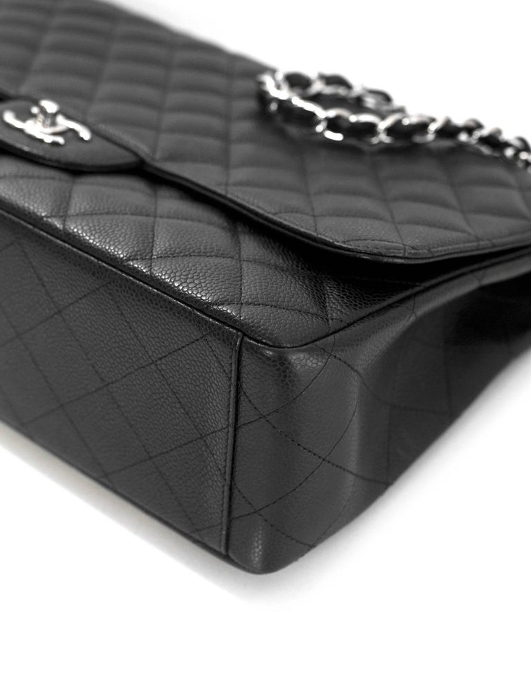 Chanel Black Caviar Leather Quilted Single Flap Maxi Classic Bag with DB For Sale 1