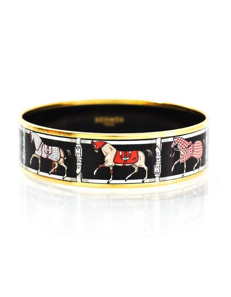 Hermes Horse Print Enamel Bangle Bracelet Sz 70 For Sale