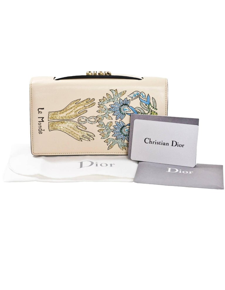 Christian Dior 2017 Nude Embroided Le Monde Tarot Pouch Clutch with DB 10