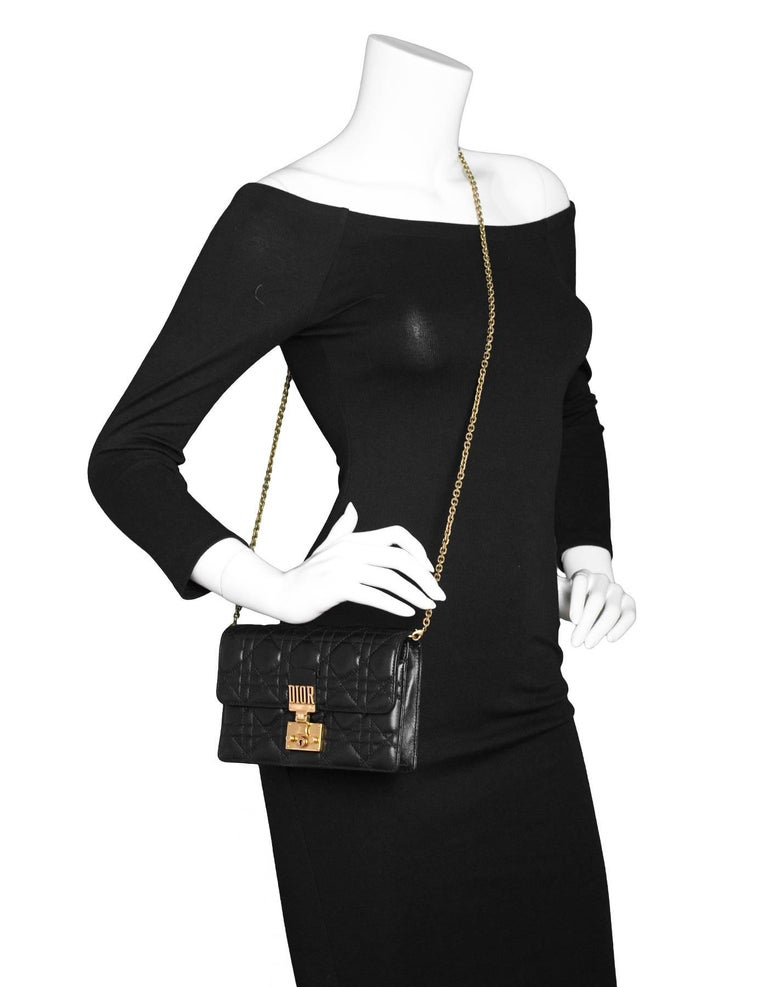 Christian Dior Black Leather Dioraddict Wallet On Chain Crossbody Chain strap can be removed  Made In: Italy Color: Black Hardware: Goldtone Materials: Leather, metal Lining: Black suede Closure/Opening: Flap top with oush lock closure Exterior