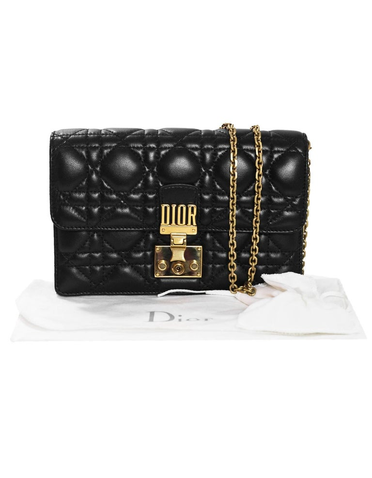Christian Dior 2017 Black Leather Dioraddict Wallet On Chain Crossbody For Sale 5