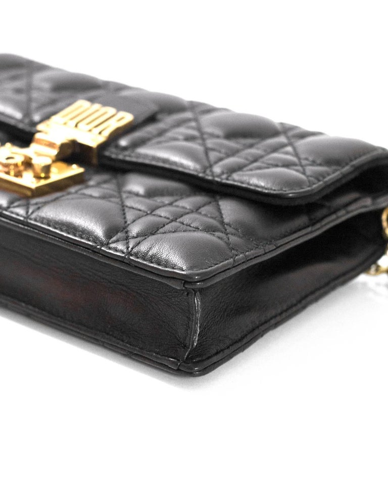 Christian Dior 2017 Black Leather Dioraddict Wallet On Chain Crossbody For Sale 1