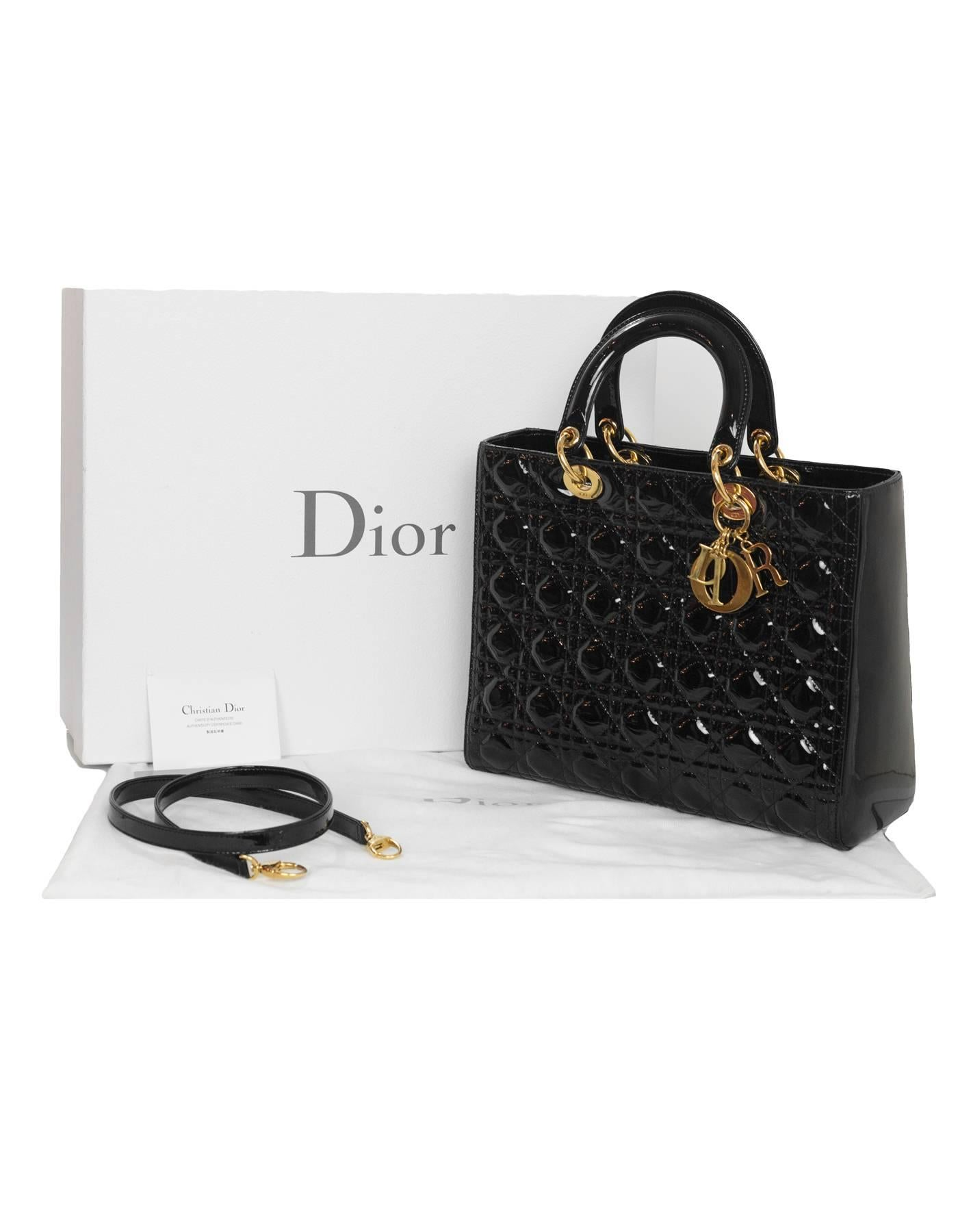 15d550dd Christian Dior Black Patent Leather Cannage Quilted Large Lady Dior Bag