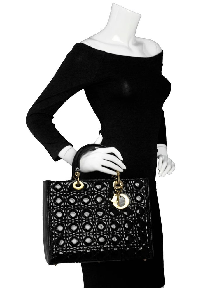 c0638c19ea Christian Dior Black Patent Large Lady Dior Bag Made In: Italy Color: Black  Hardware