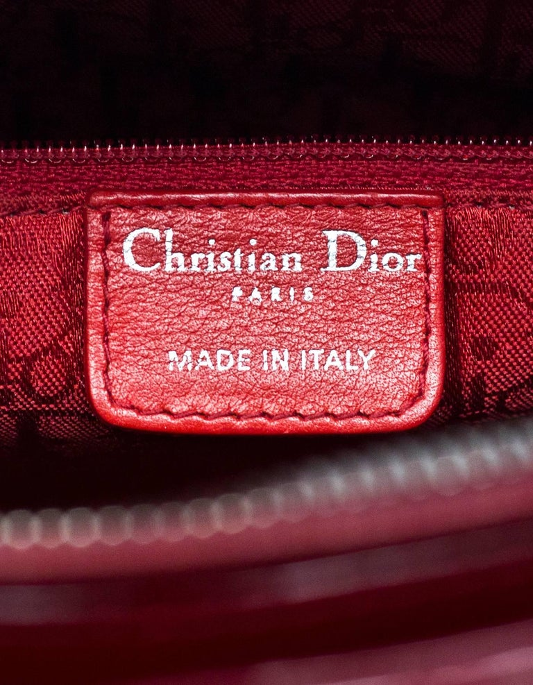fafc3c74cb Christian Dior Red Patent Leather Cannage Quilted Large Lady Dior Bag w/  Strap For Sale