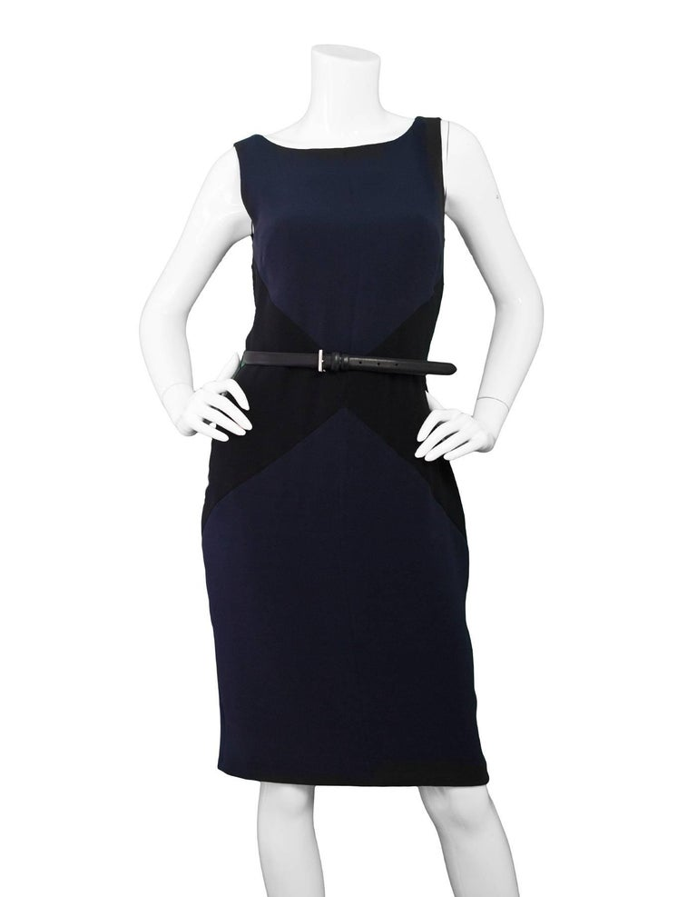 f3b5aca1321 Christian Dior Navy and Black Silk Sheath Dress w  Belt Sz 6 For Sale at