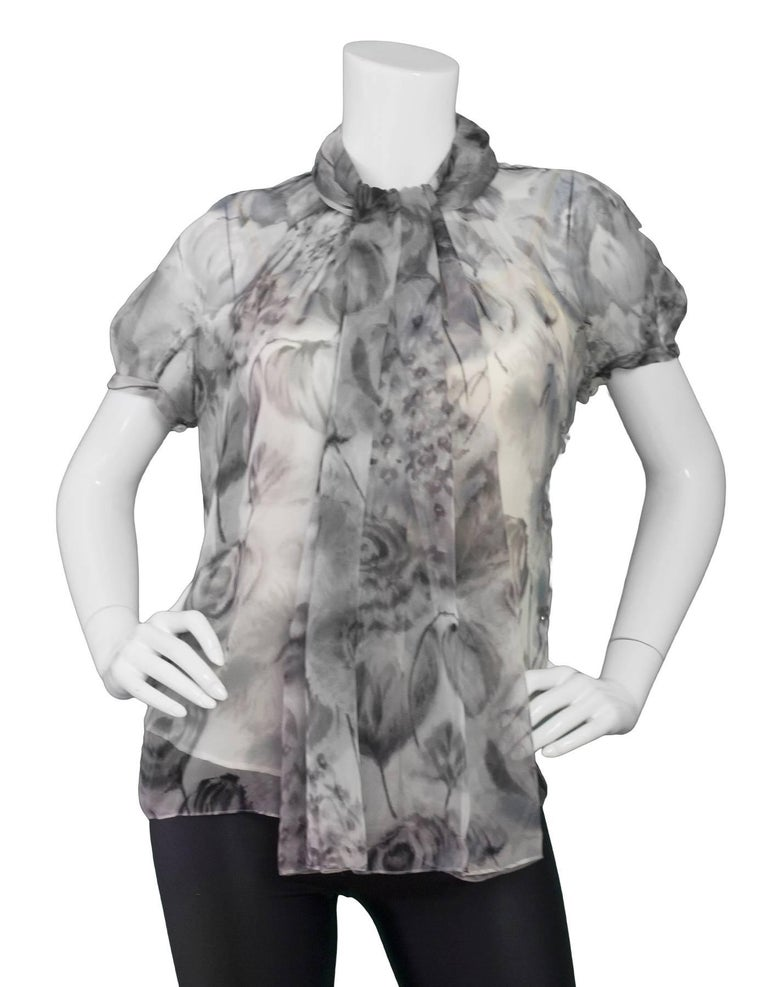 Gray Christian Dior Grey Sheer Silk Blouse Sz IT40 with Garment Bag For Sale