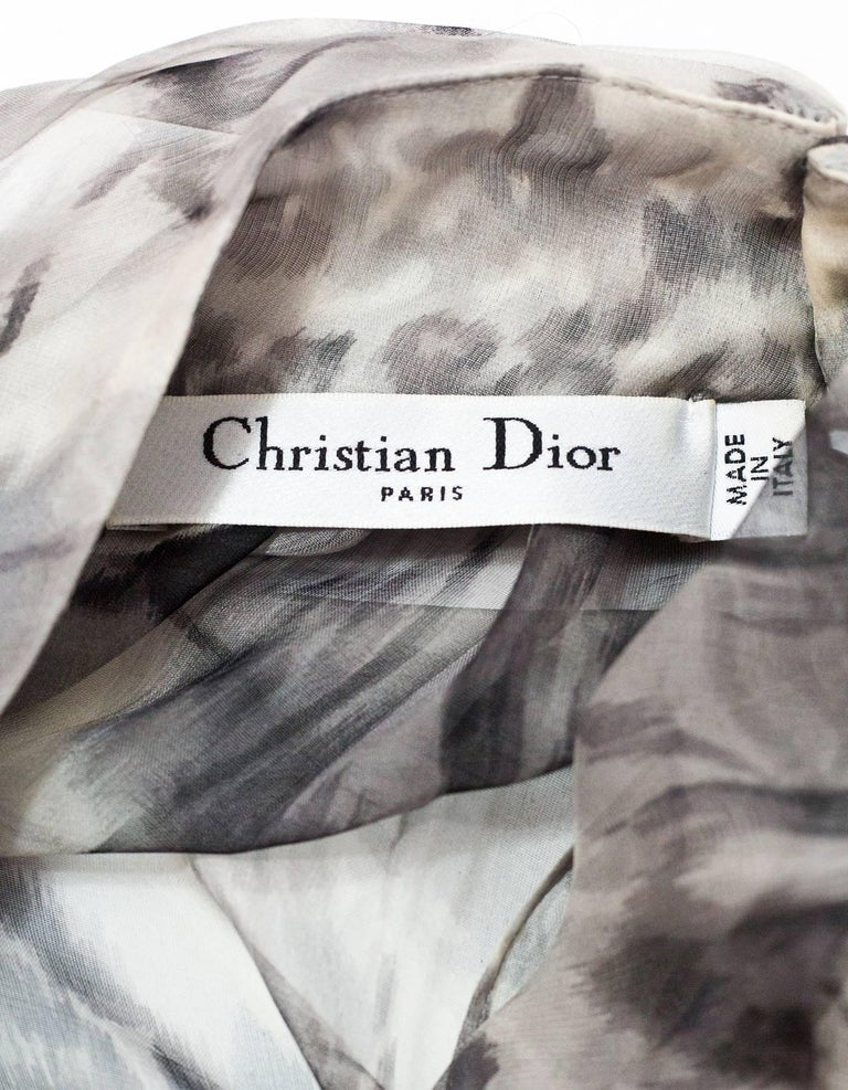 Christian Dior Grey Sheer Silk Blouse Sz IT40 with Garment Bag In Excellent Condition For Sale In New York, NY