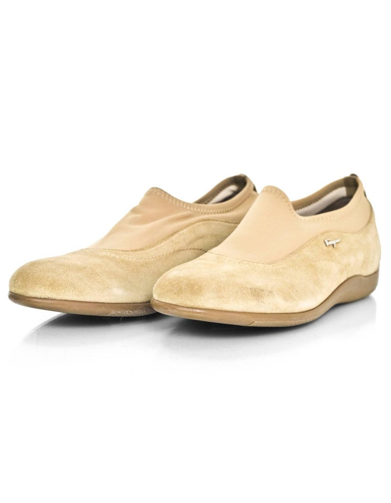 Salvatore Ferragamo Tan Suede Shoes Sz 37  Made In: Italy Color: Tan Materials: Suede Closure/Opening: Slide on with stretch elastic foot opening Sole Stamp: Salvatore Ferragamo Sport Made in Italy Overall Condition: Excellent pre-owned condition