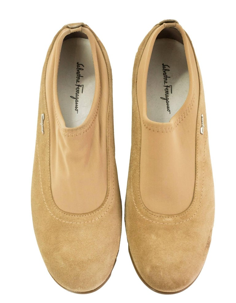 Beige Salvatore Ferragamo Tan Suede Shoes Sz 37 For Sale