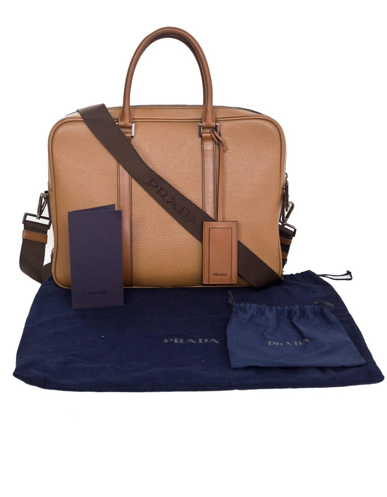 Prada Tan Grained Leather Briefcase Laptop Bag With Strap Rt 2 200 For 3