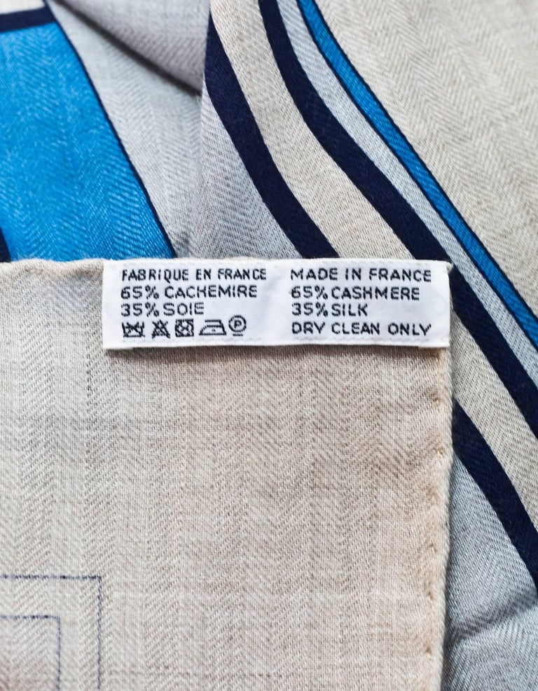 Hermes Grey/Blue Bouquets Sellier Silk & Cashmere 140cm Shawl w. Box & Receipt 6