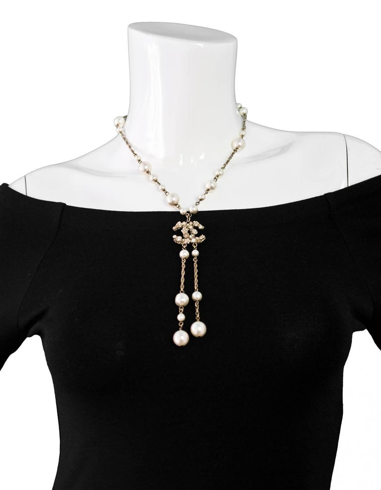 chanel faux pearl lariat cc necklace for sale at 1stdibs