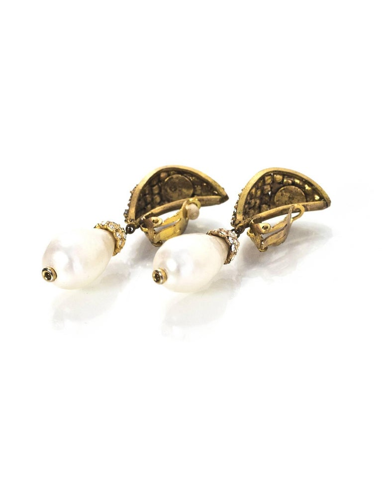 chanel vintage and pearl drop clip on earrings for