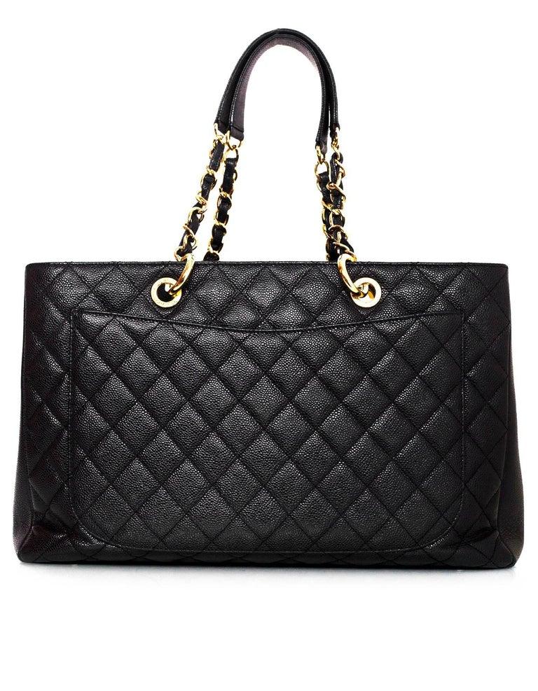 Chanel Black Caviar Leather Xl Gst Grand Shopping Tote Bag