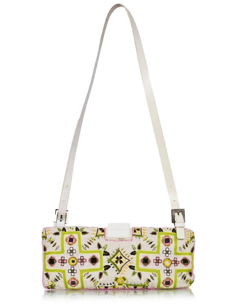 Fendi White & Green Beaded Baguette Features fringe trim  Made In: Italy Color: White, green, pink Hardware: Silvertone Materials: Cotton, beads, leather Lining: Yellow nylon-blend textile Closure/Opening: Zip top with center flap FF