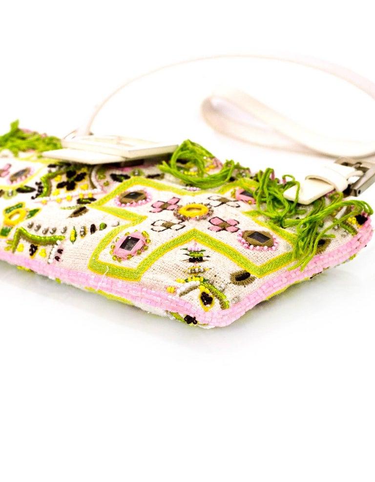 Women's Fendi White & Green Beaded Baguette Bag