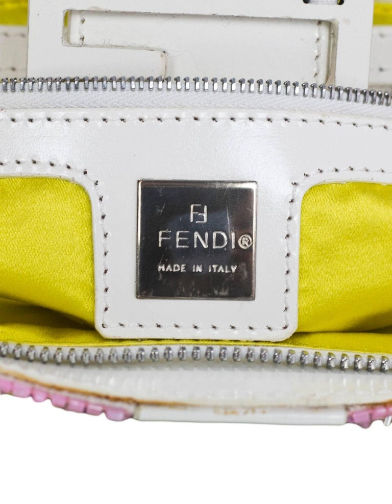 Fendi White & Green Beaded Baguette Bag  2